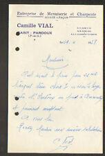 """SAINT-PARDOUX (63) Ets MENUISERIE & CHARPENTE """"Camille VIAL"""" en 1958"""
