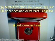 MONACO 2 euro 2013 Fs BE PP 20 anni ONU UNO UN cofanetto ufficiale Монако