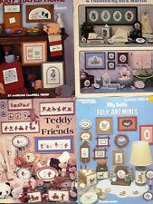 4 Counted Cross Stitch Leaflets - Leisure Arts, Teddy Bears by Dale Burdett, ++
