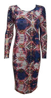New Bodycon Womens Ladies Long Sleeve Print Celeb Maxi Midi Dress Size 8 - 14