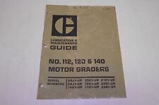 Caterpillar 112  120  140 Motor Grader Lubrication and Maintenance Guide 1970