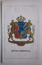 1863 SVEZIA NORVEGIA Pagnoni Heraldikk Svensk-norska unionen Noreg og Sverige