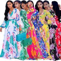 Plus Size 5XL 2018 African Floral Print Long Chiffon Bodycon Maxi Dress Women