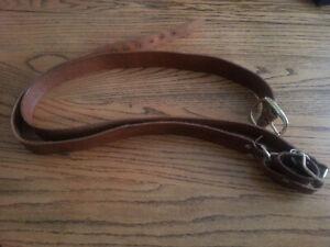 Long Leather Sword Belt / Baldric w/ Solid Brass Buckle