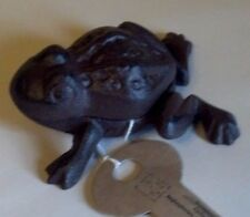 Wonderful Brown Cast Iron Frog Key Holder / Box, New