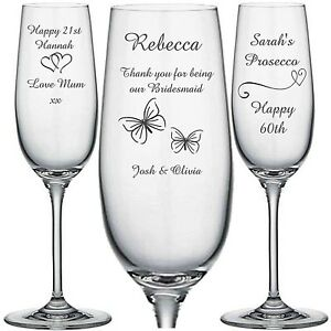 Personalised Engraved Champagne Flute glass Prosecco Bridesmaid Wedding Birthday