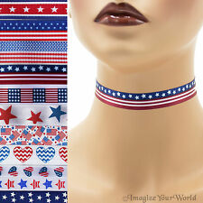 """Patriotic Choker 5/8"""" custom necklace Independence Day 4th of July America USA"""