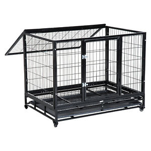 Metal Pet Cage w/ Wheels Crate Travel Dog Puppy Cat Transport Kennel Tray Black