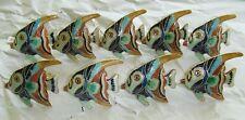 9 Pottery Barn Angel Fish Napkin Rings ~ New ~ Hand Painted Enamel Gold Tone