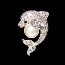 Crystal Pearl Rhodium Plated Costume Brooches & Pins