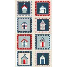 "Cotton Fabric, Sea View Beach Hut TP 1626-1 Panel 24"" X 44"" 1626-1 Andover"