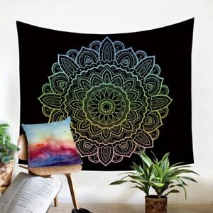 Black Floral Mandala Boho Wall Tapestry Hanging Throw Cover Home Room Decoration