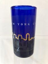"""Empire State Building New York City Shot Glass 3"""" X 1.5""""  2 oz Cobalt Blue"""