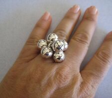 Mexican 925 Silver Taxco Dangle Round Jingle Move BEAD Shiny CLUSTER Ring Sz 7.5
