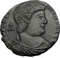 MAGNENTIUS on HORSE vs Enemy 350AD Authentic Ancient Roman Coin of Trier i65287