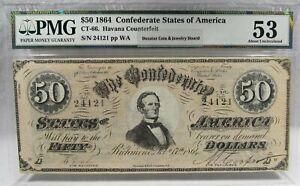 1864 $50 CT-66 Confederate Civil War Counterfeit Banknote Hoard PC-184