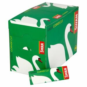 Swan Green Corner Cut Cigarette Rolling Papers Full Box 100 Booklets free deliv.