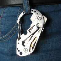 Tactical EDC Survival Multi Tool Stainless Carabiner Screwdriver Wrench Keychain
