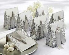 100pcs Silver Ribbon Wedding Favor Candy Boxes Gift Box