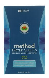 METHOD DRYER SHEETS - FRESH AIR - 80 COUNT