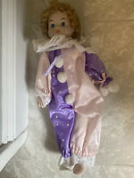 Vintage Porcelain Doll Flower Clown Birthday Collectible Rare 18""