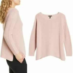 NEW Eileen Fisher Bateau Neck Merino Wool Sweater Ribbed Pink M #S2136