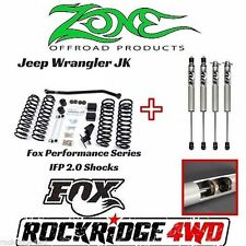"Zone 07-17 Jeep Wrangler JK 2 Door 4"" Suspension Lift Kit W/ Fox Performance 2.0"