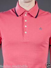 Authentic Vivienne Westwood Pink w/ Navy Trim Classic Orb Pique Polo Shirt M