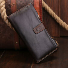 Men Long Wallet Genuine Leather Clip Money Credit/ID Cards Holder Clutch Purse