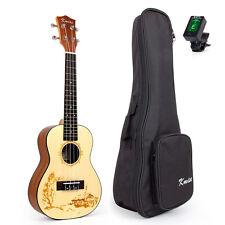 Kmise Concert Ukulele Hawaiian Hawaii Guitar 23 Inch Top Solid Spruce WBag