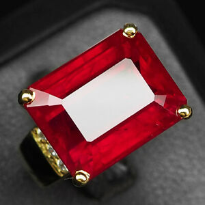 RUBY BLOOD RED OCTAGON 24.70CT. SAPP 925 STERLING SILVER GOLD RING SZ 6 JEWELRY