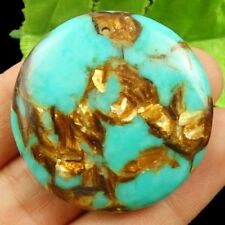40x7mm Gold Copper Bornite Stone Round Peandant Bead X30570