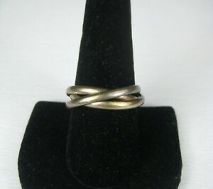 Women's Men Ring Size 10 Sterling Silver .925 Triple Rings 6 g Stacked Bands