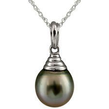 "14k white gold pendant/17"" chain with 9-10mm drop shape Tahitian pearl."