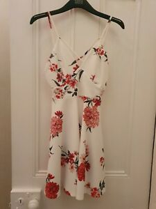New Look White Floral Skater Style Strappy Dress Size 8