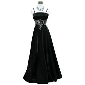 Robe de soirée longue noire à broderies argentées taille 42-44