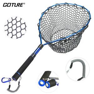 Fly Fishing Landing Net Soft Rubber Mesh Magnetic Clip Lanyard EVA Handle