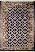 Rugstc 4x6 Bokhara Jaldar Blue Area Rug, Hand-Knotted,Geometric with Silk/Wool