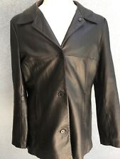 Lady Hathaway Fully Lined Leather Black 3 Button Blazer Car Coat Size Large