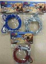 Pet Touch Dog 6ft Garden Tie Out Lead Wire Cable  Random colour