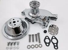 SB Chevy Water Pump Short SBC 350 V8 High Volume CHROME Pulley Kit - 1 Groove