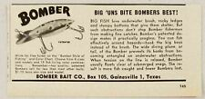 1950 Print Ad Bomber Baits Fishing Lures Gainesville 1,Texas