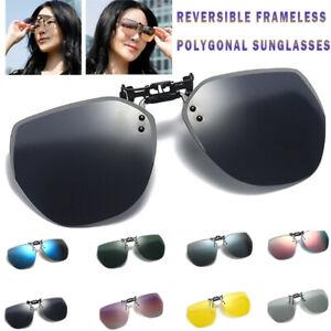 Unisex Clip on Sunglasses Polarized Flip up Eye Glasses Spectacles Anti Glare