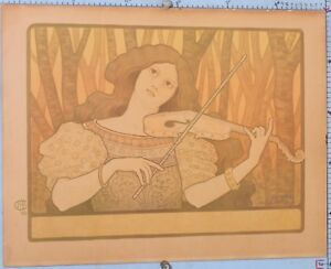 """VINTAGE LITHOGRAPH """"THE CELLIST"""" by PAUL BERTON 1898 - HAND DIGNED WITH A PENCIL"""