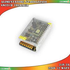 ALIMENTATORE STABILIZZATO SWITCH TRIMMER 24V 3A 220V 72 WATT TRASFORMATORE LED