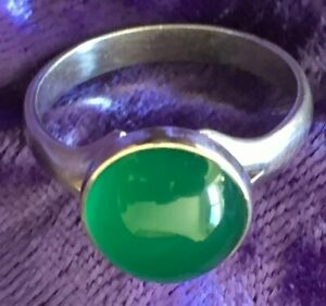 Vintage Scandinavian Silver Chrysoprase Ring by Neils Erik (From, Denmark)