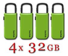 NEW LOT 4x SanDisk Cruzer U Clip 32GB USB Flash Drive Thumb Pen Memory Stick 32G