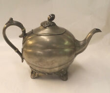 JAMES DIXON & SONS  ANTIQUE PEWTER ORNATE TEAPOT