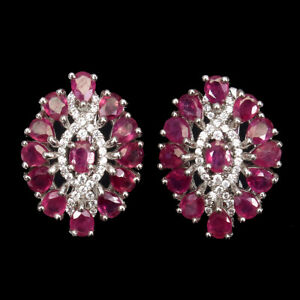 Oval Red Ruby 4x3mm Cz 14K White Gold Plate 925 Sterling Silver Earrings