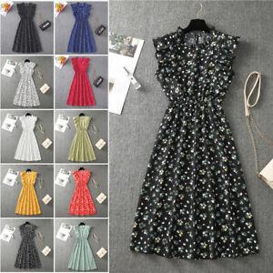 Hearts Flowers Polka Dots Midi Sundress Summer Ruffles Dresses for Women UK 8-14
